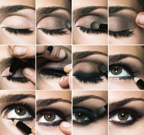 Макияж для карих глаз с черным платьем