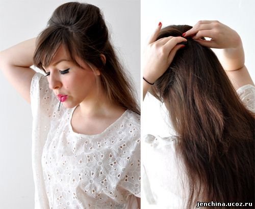 Прически простые с начесом на длинные волосы