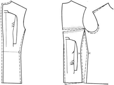 горизонтальные складки у проймы спинки