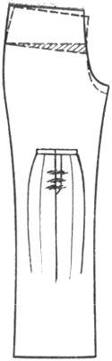 горизонтальные складки на банте брюк